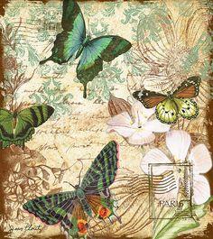 Vintage Butterfly Kisses  Digital Art / Jean Plout