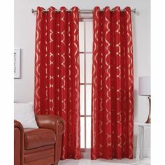 """The Lafayette Grommet Top Curtain Panels come in 8 high fashion colors! Each panel is sold separately and is 56"""" wide x 84"""" long.  100% Polyester. $25 per panel, Linens N things"""