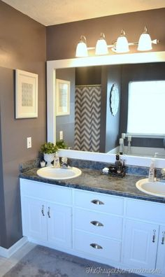 How to frame out that builder basic bathroom mirror (for $20 or less!)