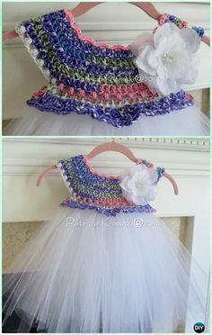 Empire Waist Crochet Tutu Dress Free Pattern Instructions- #Crochet Tutu Dress Free Patterns