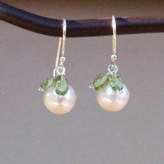 White Pearl and Peridot Earrings by BrownEyedGirlSB on Etsy, $20.00