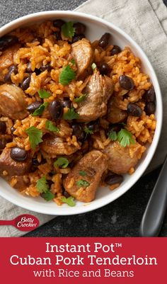 Instant Pot™ Cuban Pork Tenderloin with Rice and Beans This one-pot Cuban pork and rice meal is a quick and easy dinner, making it perfect for the weeknight rush. The flavors of mojo—a garlic-citrus sauce popular in Cuba—are what bring this dish together. Pork Recipes, Mexican Food Recipes, Crockpot Recipes, Dinner Recipes, Cooking Recipes, Healthy Recipes, Instant Pot Pressure Cooker, Pressure Cooker Recipes, Salads