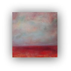 No Boundaries- Abstract Landscape Oil Painting on Canvas 24x24 red purple blue clouds sky storm original palette knife painting