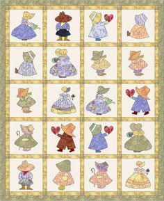 "Instant Download PDF Quilt Pattern - Sunbonnet Sue and Sam Quilt - 64"" x 78"" in PDF form - Quilt Pattern"