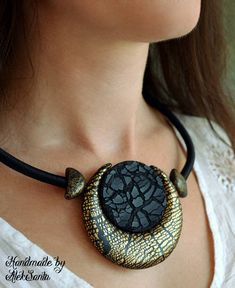 Crescent moon necklace Black necklace Half moon necklace Dainty necklace Stunning jewelry Large pendant necklace Polymer clay jewelry Gift for her Jewelry for women Black jewelry Large necklace _________________________________ Two-sided Eclipse necklace is made of polymer clay.