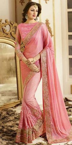 Angelic Pink Net Saree With Blouse.