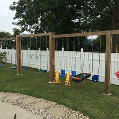 Check out this project on RYOBI Nation - With the addition of another grandchild I needed something Backyard Swing Sets, Diy Swing, Backyard For Kids, Backyard Projects, Outdoor Projects, Outdoor Swing Sets, Outdoor Swings, Natural Playground, Backyard Playground
