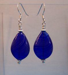 Handmade Earrings for Gift for Wife, Unique Earrings, Girlfriend Gift, Blue Bubbles,Blown Glass, Bubble Dangles, Delicate Art, Artistic Drop