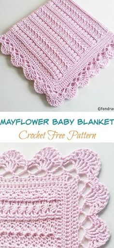 Crochet Afghans, Crochet Baby Blanket Free Pattern, Crocheted Baby Blankets, Crochet Shell Blanket, Free Baby Patterns, Baby Afghan Patterns, Crochet Motifs, Crochet Stitches Patterns, Baby Knitting Patterns