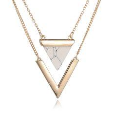 a47362f59c34b Mulheres Punk Banhado A Ouro Colares Da Índia Hot Geométrica Triângulo Faux  Mármore de Pedra Pingente