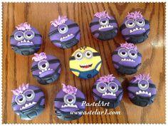 Cupcakes minions, elaborados en fondant con betún pedidos desde 12 piezas