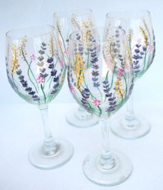 Spring - Hand Painted Wine Glasses