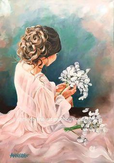 Art Women, Female Art, Flowers, Anime, Painting, Woman Art, Painting Art, Cartoon Movies, Paintings