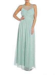 Sleeveless Embellished Pleat Detail Maxi Dress