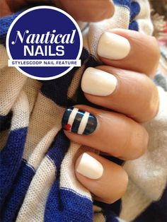 This #CNDShellac Nautical Nail look was created with #CNDShellac in Cream Puff (base) Midnight Swim (stripes) and Wildfire (hearts) as featured in #stylescoop
