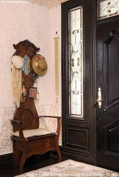 Stenciled Foyer featured in Victorian Homes Magazine   Royal Design Studio