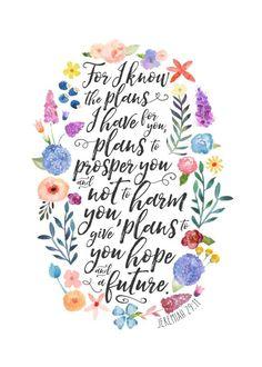 Hope and a Future - Jeremiah Text Art Poster Print Bible Art, Bible Verses Quotes, Bible Scriptures, Poster Text, Jeremiah 29 11, Bible Verse Wallpaper, Favorite Bible Verses, Hope Quotes, Christian Quotes