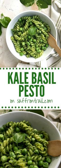 This recipe for a 5 minute vegan kale basil pesto made with garlic, roasted almonds and olive oil, will totally transform your weeknight dinners. Just toss pasta!