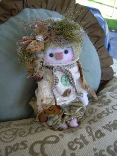 "Primitive Prim Folk Art Snowman Snowwoman Doll 10"" ""Cozy"" Must See #NaivePrimitive #LeahsWhimsicalcorner THIS DOLL IS NOW AVAILABLE ON ebay. THANKYOU!!:0) SOLD"