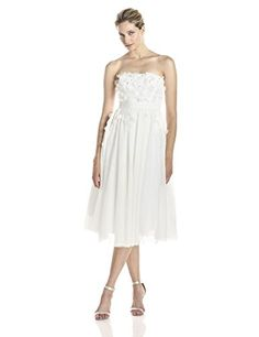 Strapless mid-length dress with flower appliques...