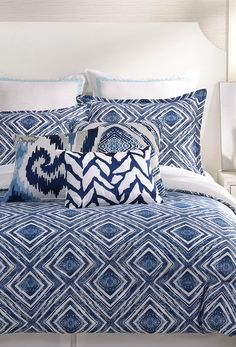 Trina Turk Silver Lake Comforter and Duvet Cover Sets - Sale Bedding Collections - Bed & Bath - Macy's Queen Comforter Sets, Queen Duvet, Duvet Sets, Duvet Cover Sets, Trina Turk Bedding, Coral Bedding, Blue Duvet, Blue And White Bedding, Beige Bed Linen
