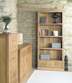 mobel oak large 3 drawer bookcase cor01a is part of our baumhaus mobel oak contemporary