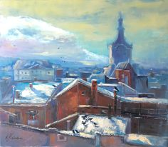 The city of Lion. #painting #Lviv #artwork #city #town #sky #picture #buildings #oldcity #tower #heaven #roofs #landscape #cityscape #oilpainting #city view #old town #birds