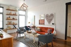 room design for orange couch - Google Search