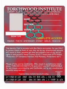 Torchwood ID card, front and back