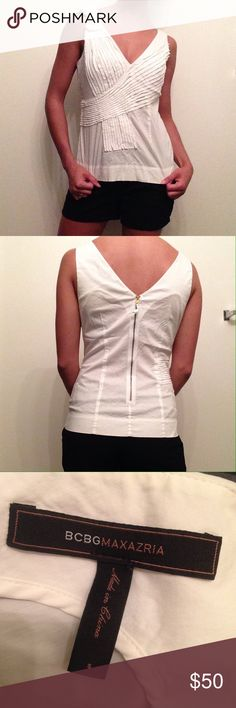 BCBGMaxAzria top Flattering neckline with detailing on right shoulder, zipper in back BCBGMaxAzria Tops