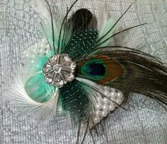 Peacock Feather Wedding Corsage - BLING Wrist Corsages Seafoam Green Blue Teal White Turquoise Custom Feathers Wedding Colors Pearl Bracelet. $22,00, via Etsy.