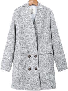 Abrigo de lana bolsillos manga larga-gris 45.65