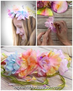 Use coffee filters to make easy flower crown. Perfect for imaginative play or a special day your little one will love this flower tiara. flowers crown DIY Flower Tiara- Coffee Filter Flower Headbands - The Kitchen Table Classroom Coffee Filter Crafts, Coffee Filter Flowers, Coffee Flower, Pot Mason Diy, Mason Jar Crafts, Paper Flowers Diy, Flower Crafts, Flower Diy, Handmade Flowers