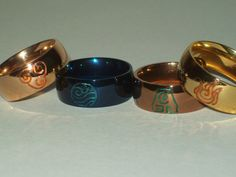 Avatar Element Symbol Rings Great for by SculptRenaissance