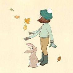 Leaf Dancers - autumn illustration