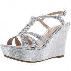 f72c5f676300 De Blossom Collection Womens Aria-1 Dress Wedge Sparkle Party Sandals... (