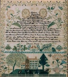 Predominant Motif Quaker Family record with a pictorial scene at the bottom. Four story house with large lawn and trees with animals including a peacock. Love birds above the house with various motifs. Hannah died in Mason, MI ca. 1838 at age 26.