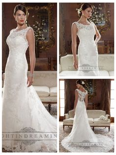 Straps Illusion Bateau Neckline and Back A-line Lace Appliques Wedding Dresses http://www.ckdress.com/straps-illusion-bateau-neckline-and-back-aline-lace-appliques-wedding-dresses-p-2.html