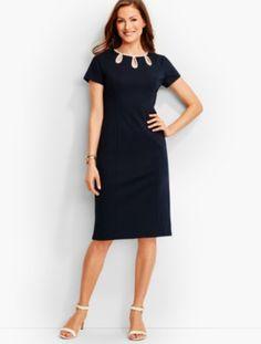prdi42520 - Tipped Ponte Sheath Dress