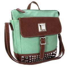 0a2b041850 Rhinestone Studs Decorative Messenger Bag by Silverake -Aqua