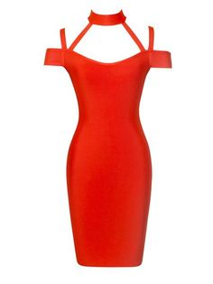 Farah Red Off Shoulder Bandage Dress with Cutouts and Choker