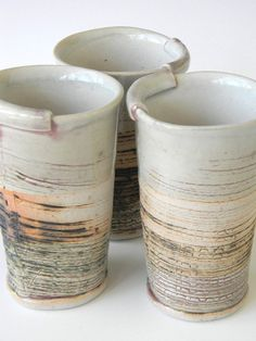 Organic, interesting in colour, texture and shape. Beautifully done. Set of Three Hand Built Juice Cups  Scratch Pattern by lbcooper