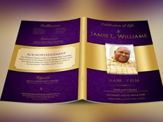 Regal Funeral Program Template by Godserv on Etsy #funeralprogram #photoshop #graphics