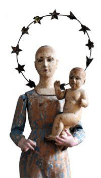 Antique Santos mother and child. Unusual halo