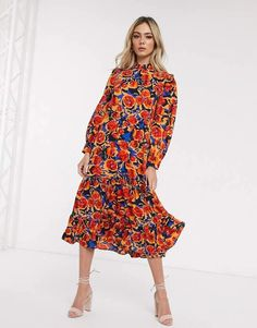 Shop Never Fully Dressed frill neck swing midaxi dress in contrast floral print. With a variety of delivery, payment and return options available, shopping with ASOS is easy and secure. Shop with ASOS today. Satin Midi Skirt, Midi Dress With Sleeves, Asos, Fashion Prints, No Frills, Floral Prints, High Neck Dress, Midi Dresses, Party Dresses