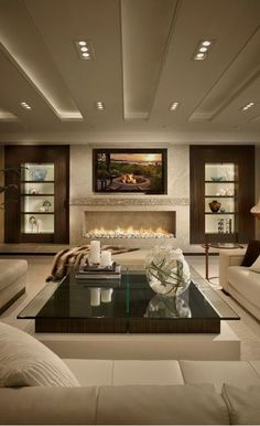 #homedesign #livingroomdecor #inspiration | Design ideas for a contemporary living room in Miami with a ribbon fireplace and a wall-mounted tv. — Houzz