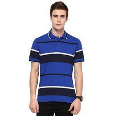 Royal Blue, Navy Blue and White Striped MUDO Polo T-Shirt