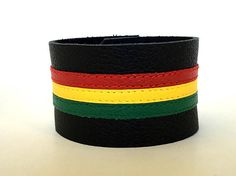 Rasta rastafarian leather bracelets rasta bracelets Leather Wristbands, Leather Bracelets, Leather Cuffs, Leather Men, Cuff Bracelets, Thick Leather, Real Leather, Pride Bracelet, Rasta Colors