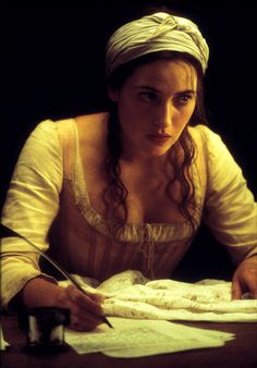 """Screenshot of Kate Winslet as Madeleine LeClerc in """"Quills"""" - """"Still up, chérie? You really need to get some rest."""" """"But I can't - not without knowing how he is, how this is all going to end."""""""