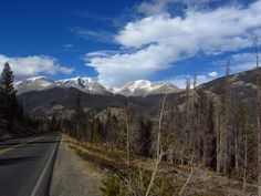 Love the blue skies & white peaks! View from the road in Rocky Mountain National Park - near Estes Park, Colorado